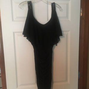 Black tight form fitted dress women's sz L